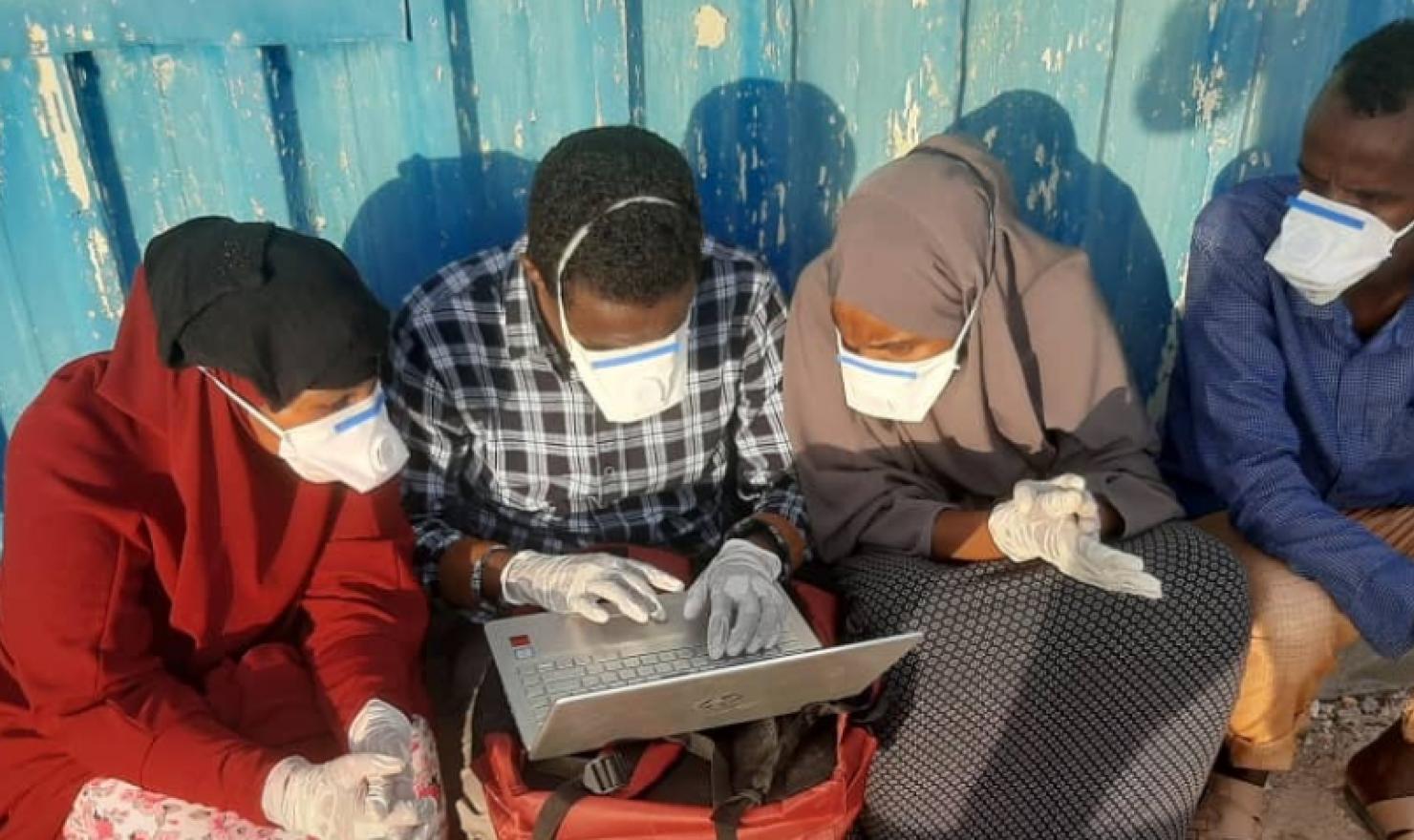 University students entering fish catch data into the database for Project Kalluun. Somali region.