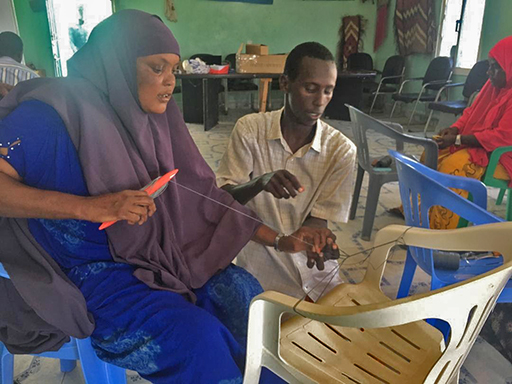 women workshop making mending nets Somali region